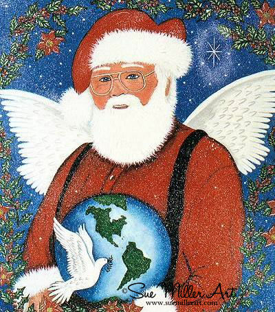 Santa Christmas Angel of Peace Print