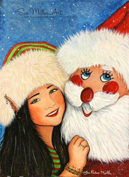 Dancing with Santa Print