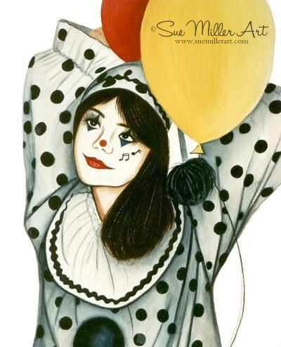Polka Dot Clown with Balloons Print
