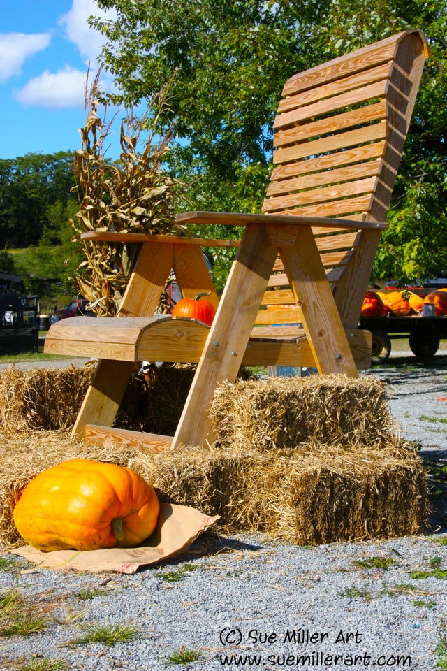 CHAIR & PUMPKINS