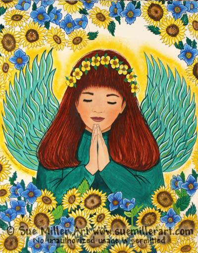Praying Fairy with Sunflowers Print