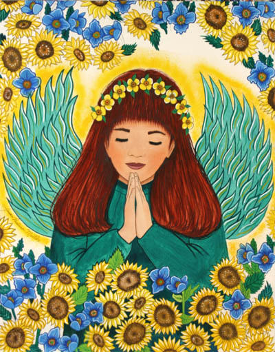 Praying Fairy with Sunflowers Prints